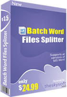 TheSkySoft Batch Word Files Splitter Coupon Code